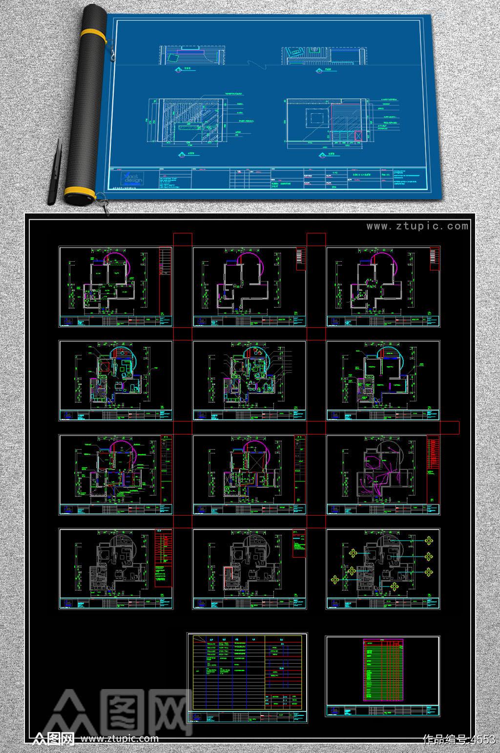 原创平层样板间现代风格CAD施工图纸素材