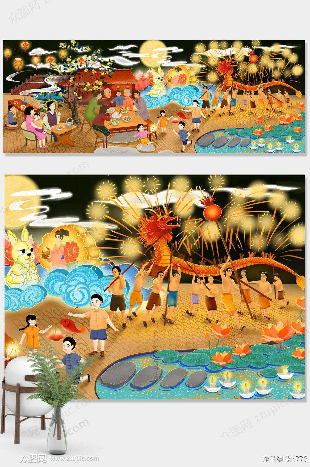 原创插画唯美中秋节商业插画设计素材