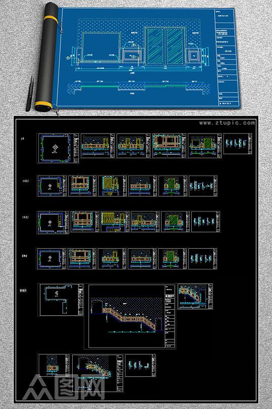 原创法式护墙板欧式护墙板CAD-众图网