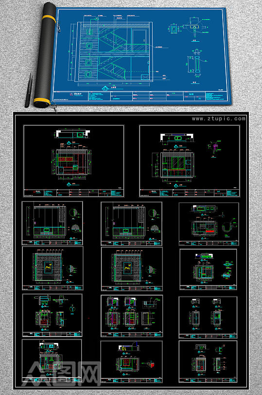 原创全套别墅样板房CAD平面装修图-众图网