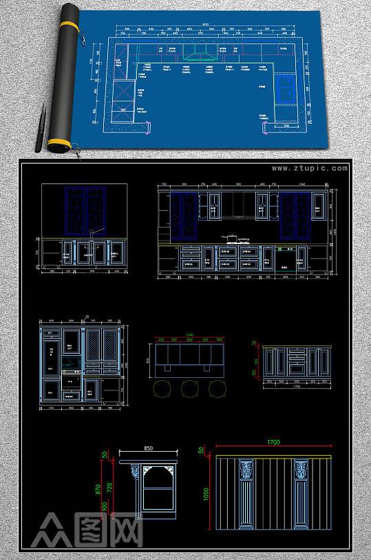 原创法式橱柜CAD图库橱柜设计素材-众图网