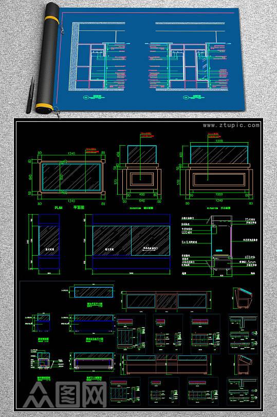 原创2019文物柜合集CAD图库-众图网