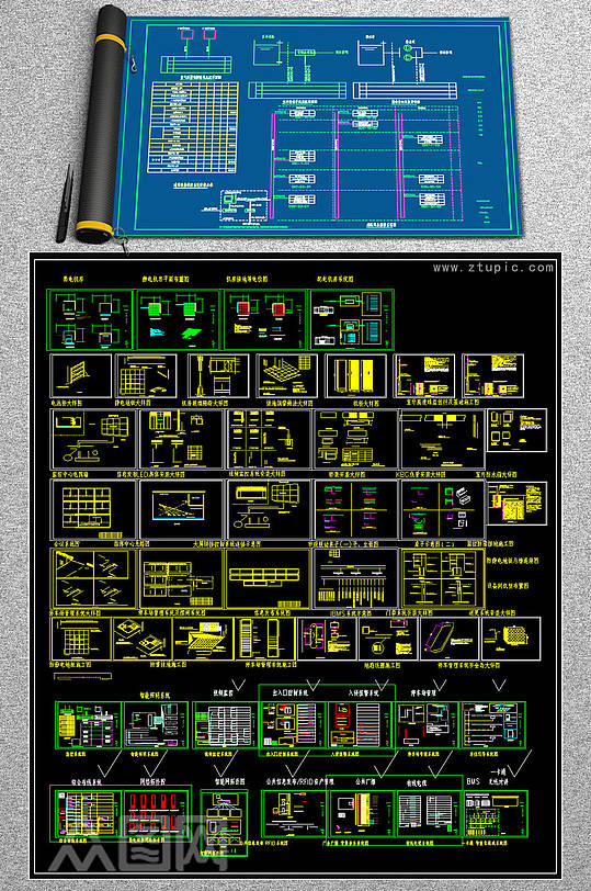 机房工程CAD系统图-众图网