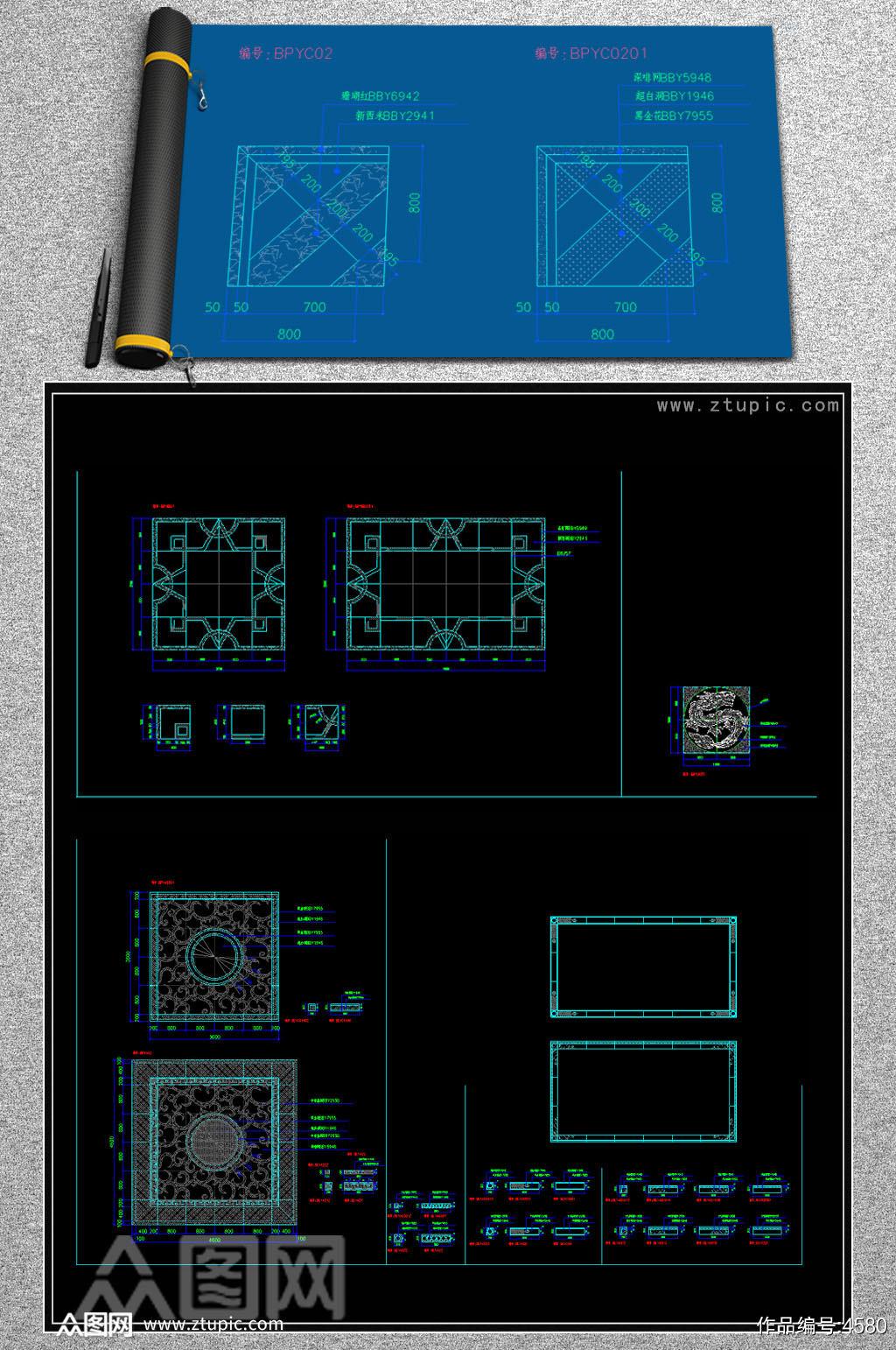 原创室内设计地面拼花CAD素材总汇素材
