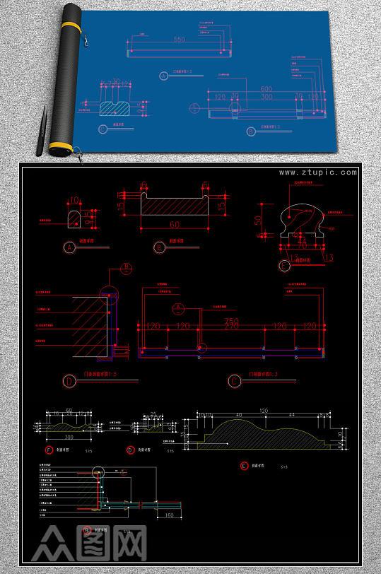 原创各种款式实木门CAD图库-众图网
