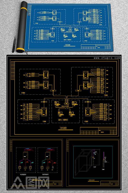 门禁系统CAD素材-众图网