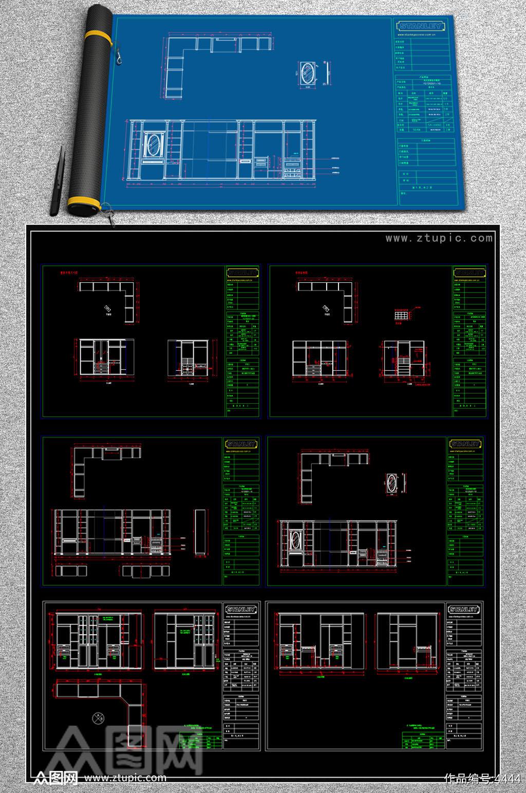 原创整木定制衣柜衣帽间CAD深化图库大全素材