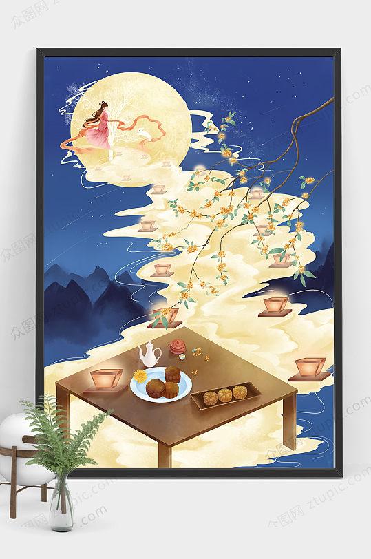 原创大气中秋节嫦娥奔月商业插画设计-众图网