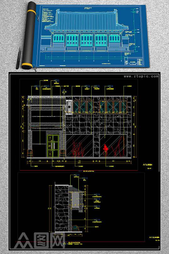 原创中式古典大门CAD图纸-众图网