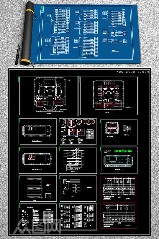 原创全套酒店电气系统图CAD图纸-众图网