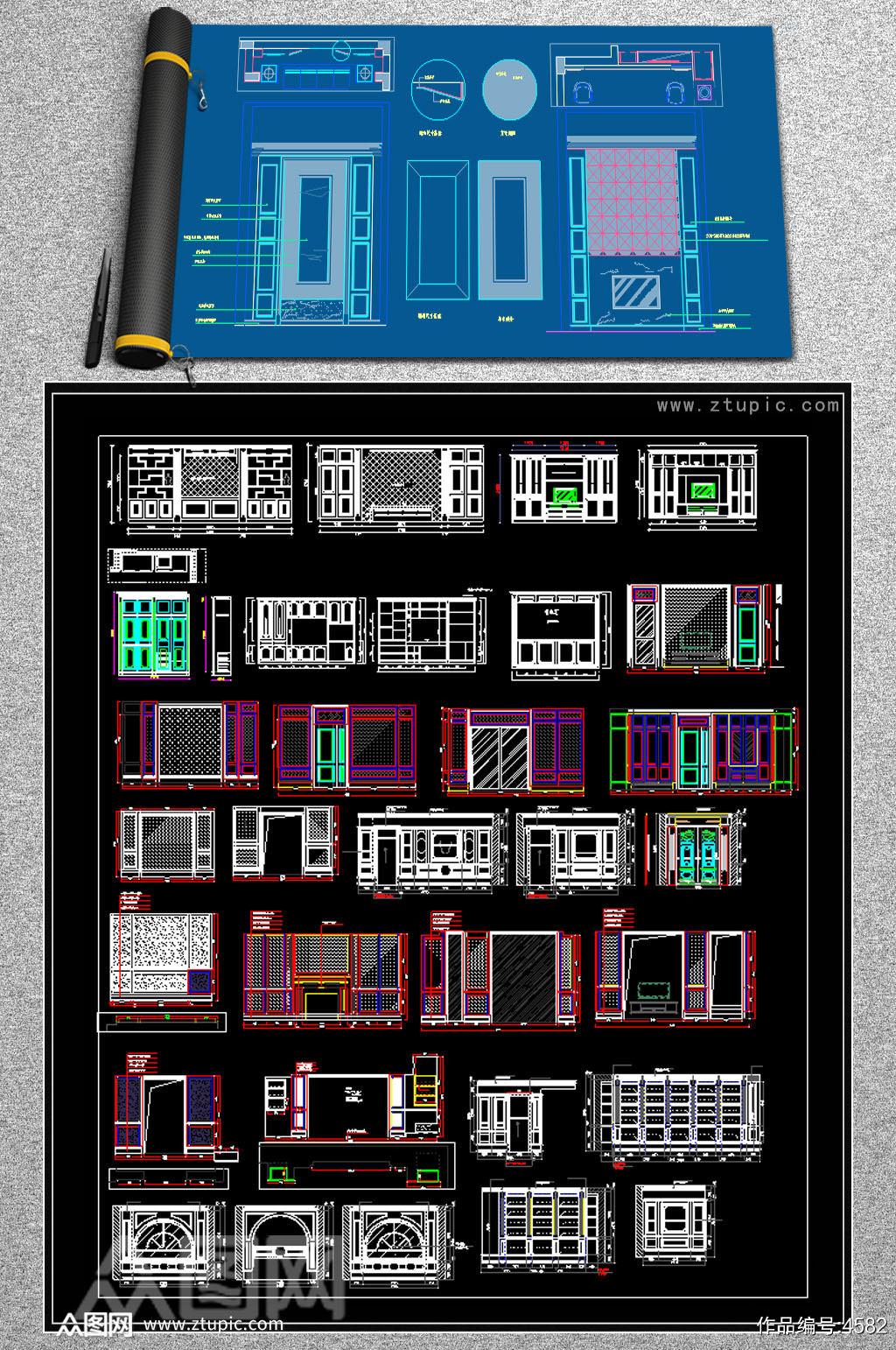 原创整木定制护墙板背景墙CAD图库素材