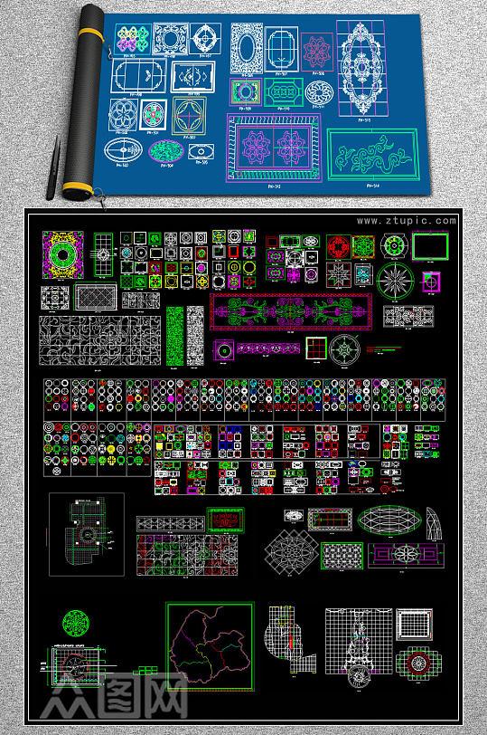 原创新款水刀拼花CAD-众图网