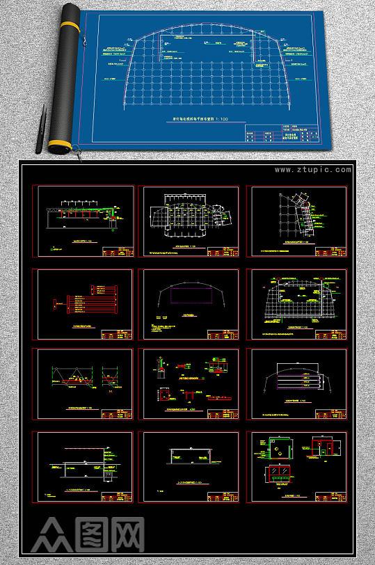 原创大学体育馆舞台音箱舞台灯光器材CAD图库-众图网