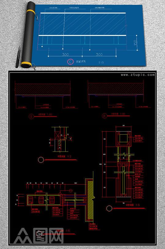 原创CAD钢结构外贴砖节点施工图吊顶图纸-众图网