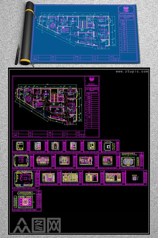 原创轻奢风格全屋定制展厅CAD图纸-众图网