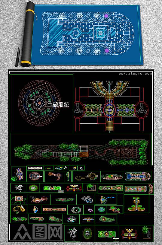 原创各式广场景观绿化设计CAD平面图-众图网