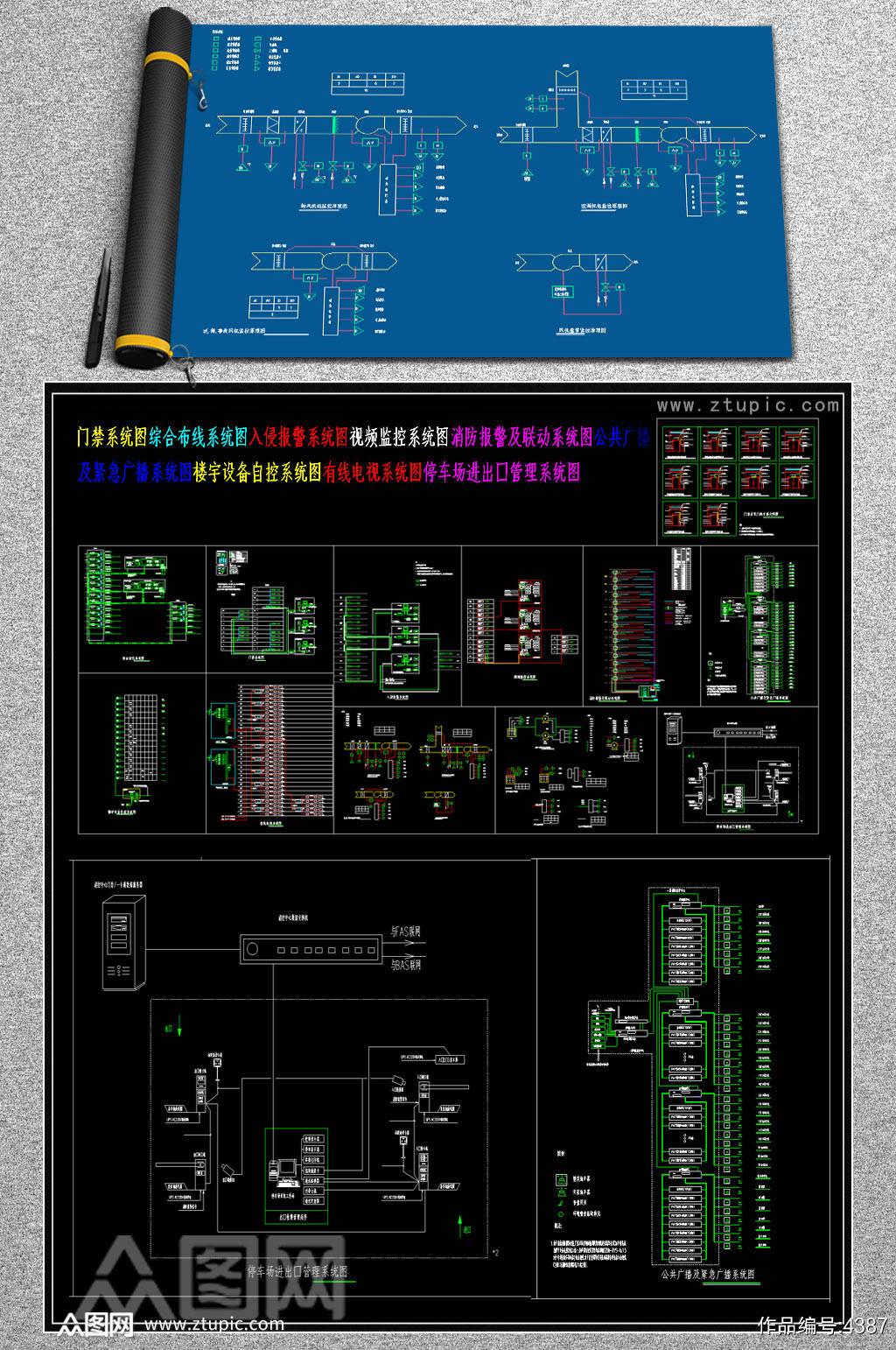 弱电系统图CAD素材