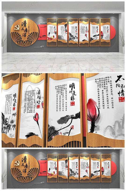 原创政府机关反腐建设廉政文化墙设计-众图网