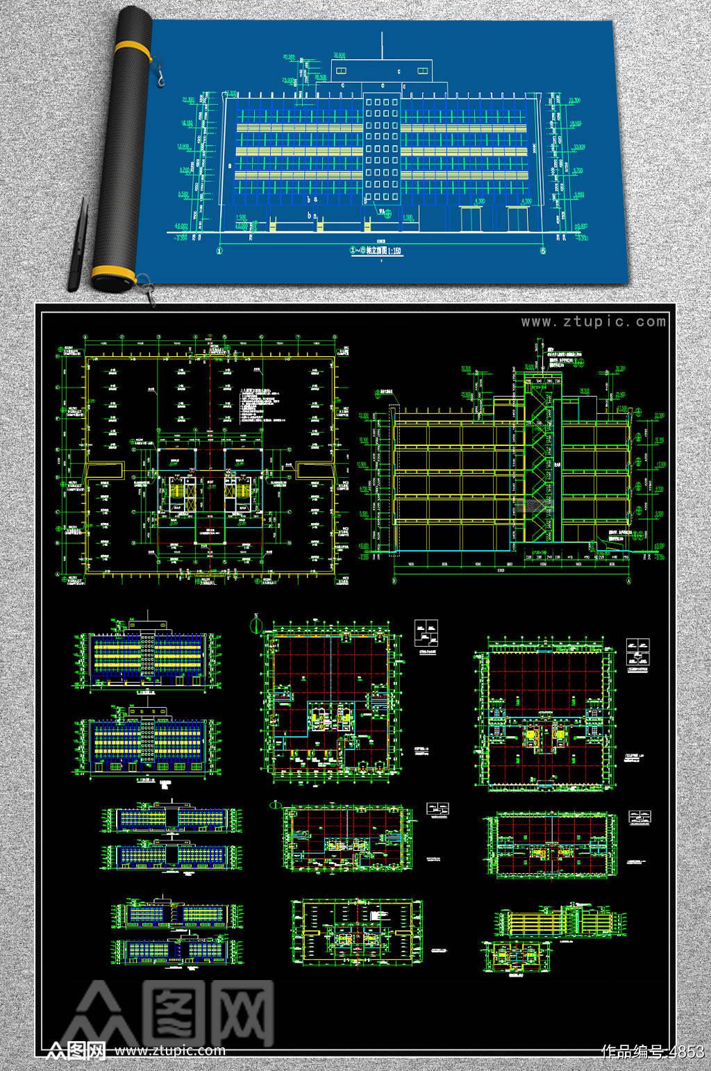 原创全套厂房CAD施工图效果图素材