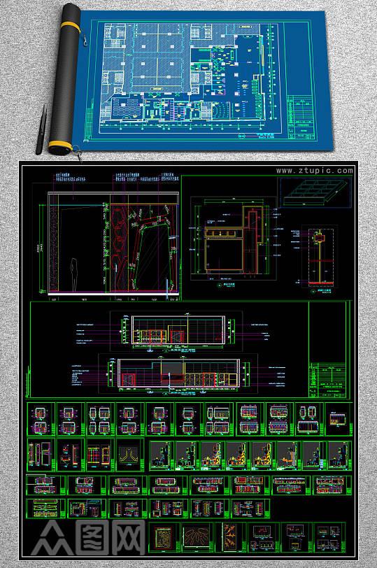 原创现代风格健身俱乐部全套CAD施工图-众图网