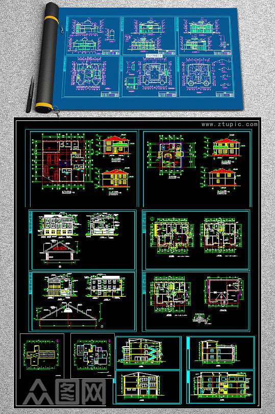 原创奢华欧式别墅CAD-众图网