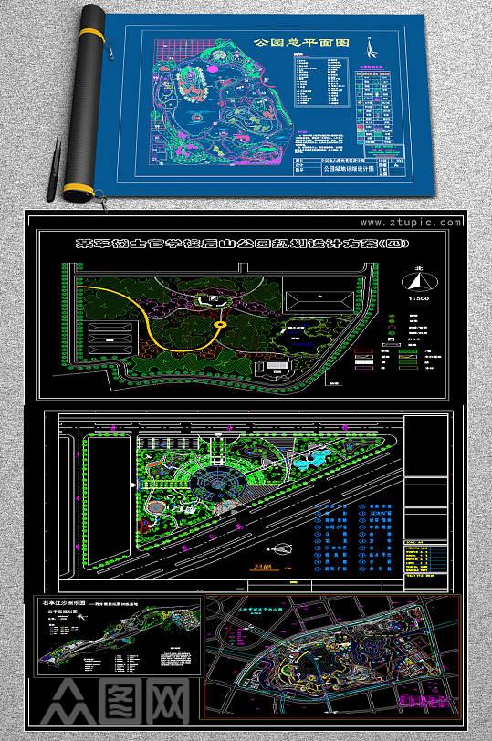 原创50套CAD休闲公园平面规划图纸景观园林-众图网