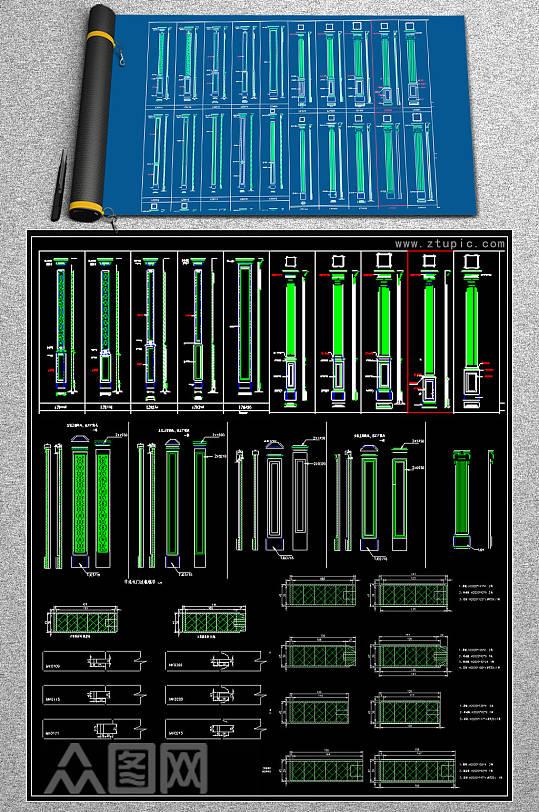 最新欧式柱子构件CAD图块-众图网