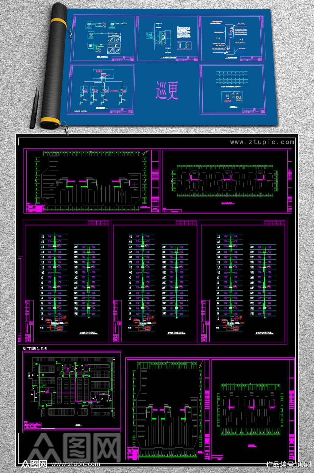 原创小区智能化系统CAD施工图素材