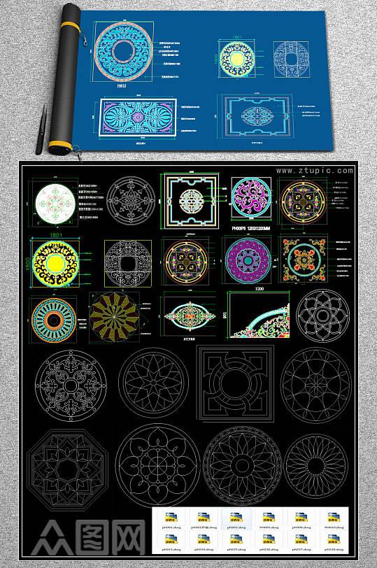 各种风格的拼花CAD图库-众图网