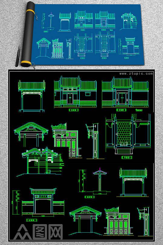 原创CAD中式门头雕花屏风隔断中式牌-众图网