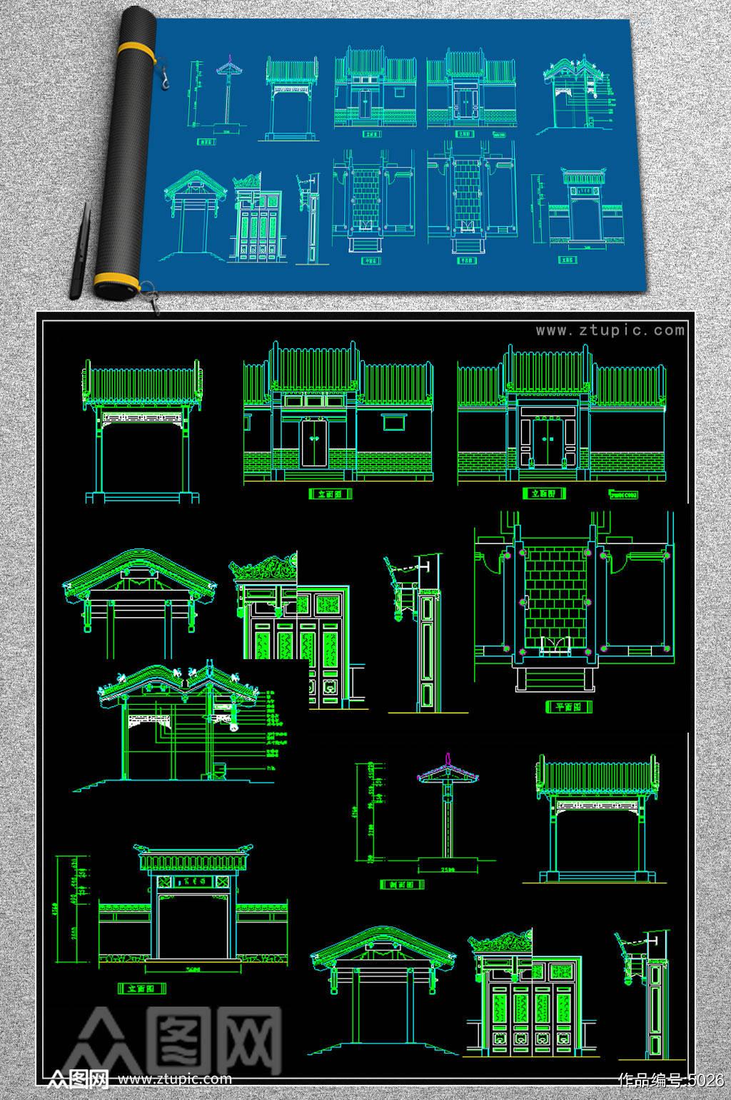 原创CAD中式门头雕花屏风隔断中式牌素材