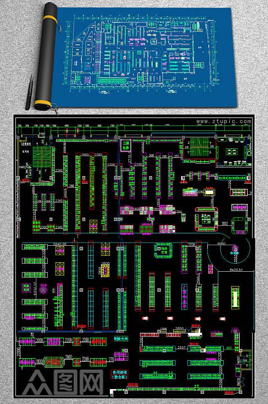 原创超市大卖场CAD平面施工图-众图网