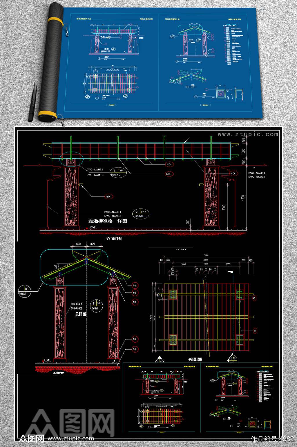 原创景观小品CAD施工图素材