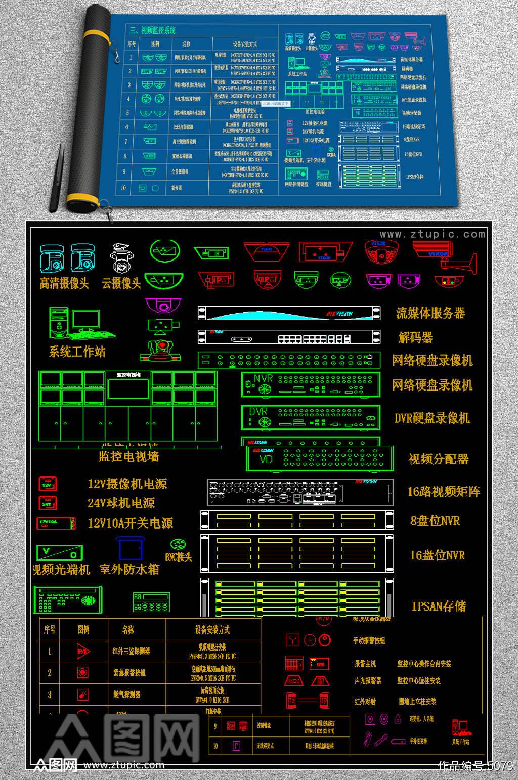 原创智能弱电安防监控图块网络设备图库图块图素材