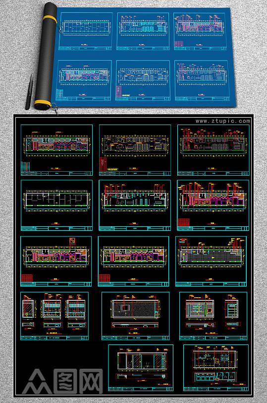 时尚网咖全套CAD施工图-众图网