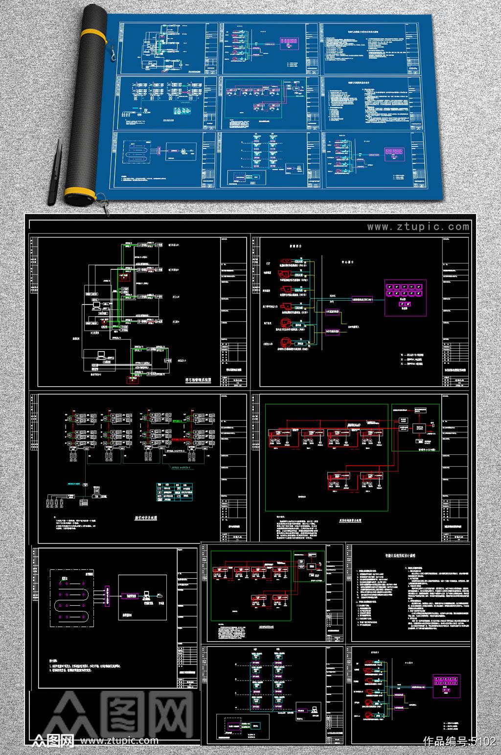 小区监控系统原理图素材