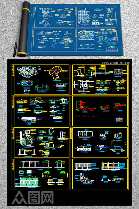 原创全套公园CAD施工详图-众图网