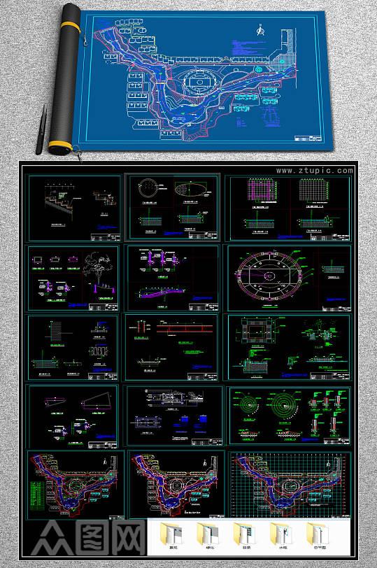 全套滨河公园CAD施工图-众图网