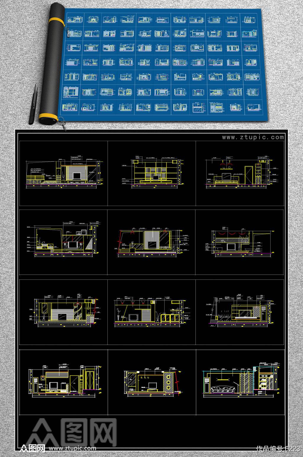 新款电视背景墙CAD素材素材