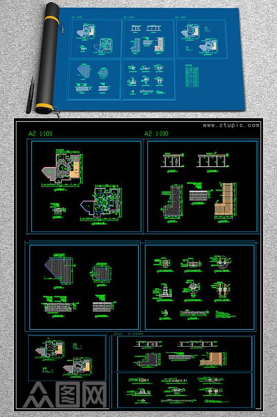 原创屋顶花园CAD图纸-众图网