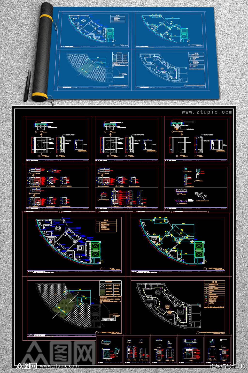 原创全套展厅CAD施工图素材