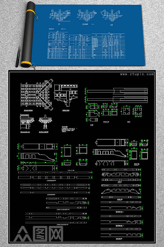 原创全套整理拼花CAD图集-众图网
