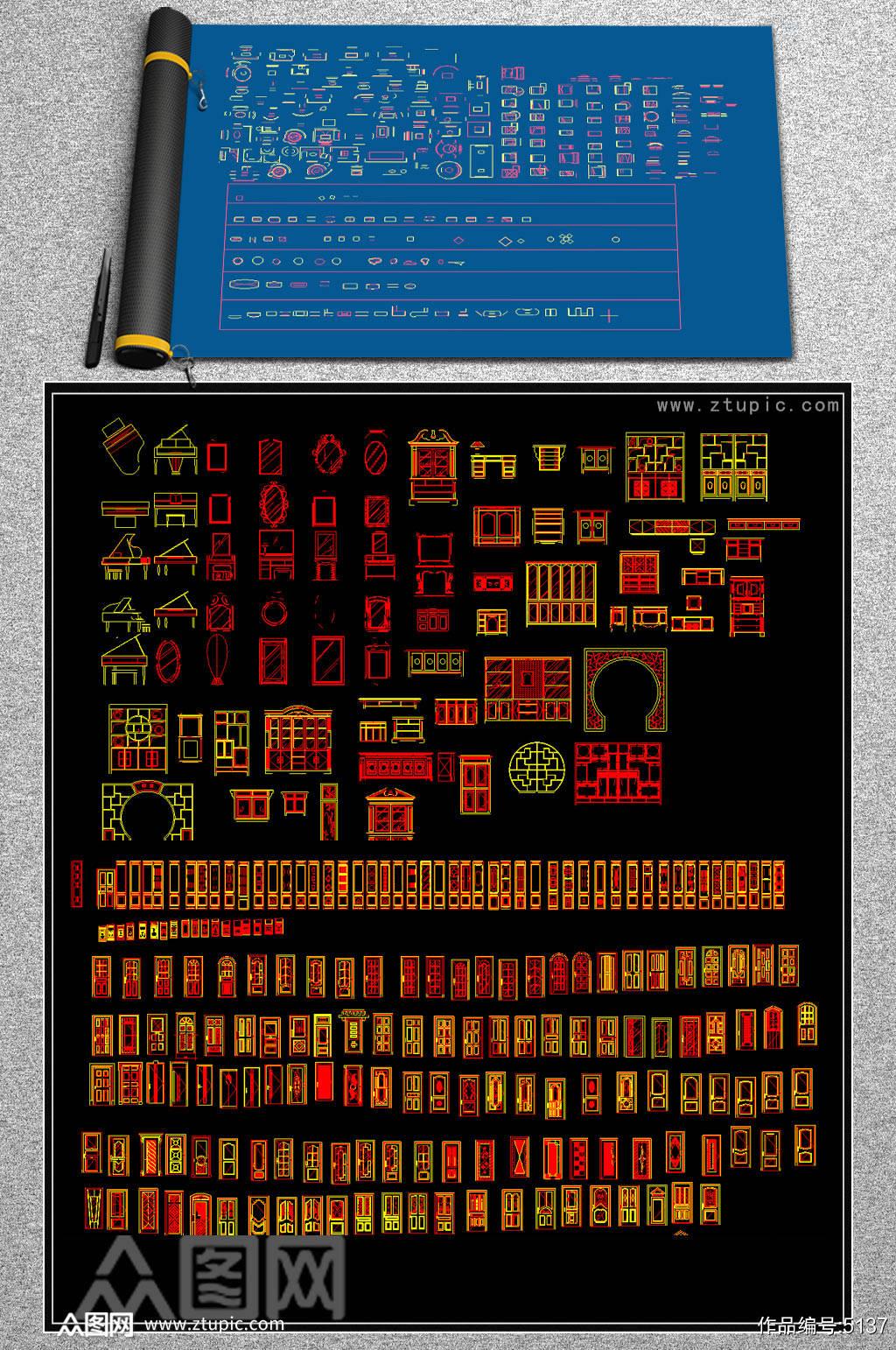 原创板式柜类家具设计资料CAD图库大全素材
