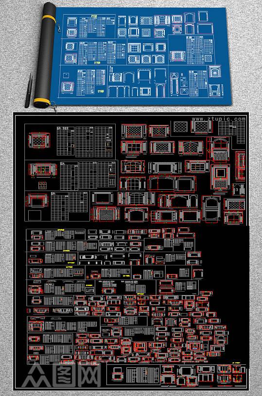 原创大理石背景墙CAD-众图网