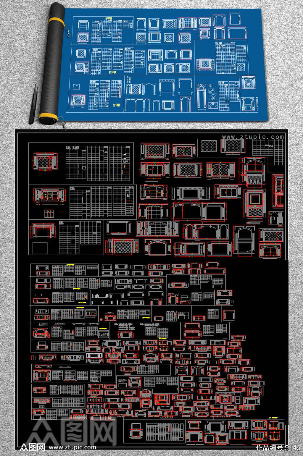 原创大理石背景墙CAD素材