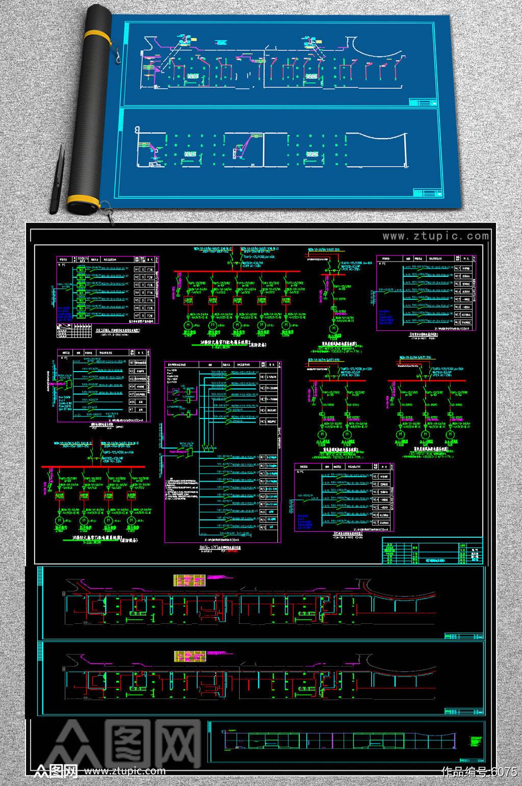 原创公寓电气全套CAD图库素材