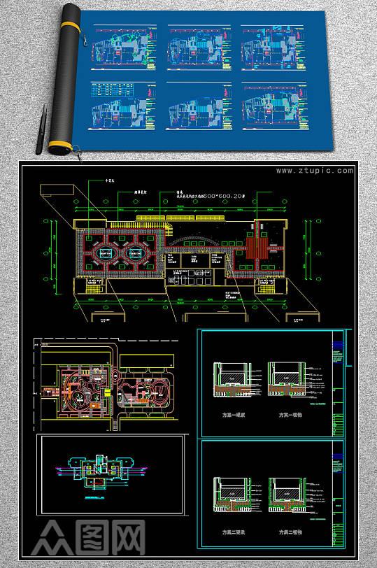 原创6套小庭院屋顶花园景观设计CAD平面图-众图网