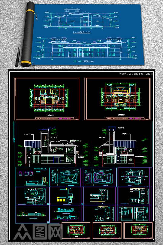 原创全套时尚现代幼儿园CAD施工图实-众图网