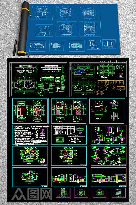 原创全套奢华别墅CAD施工图-众图网