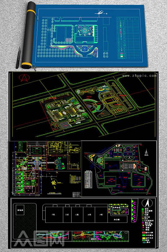 原创各式小区规划绿化CAD平面图库-众图网